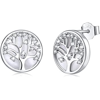 d000d7aad ... discount megachic women tree of life 925 sterling silver mother of  pearl stud earrings crystals from