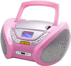 Lauson Cp448 Cd Player Usb Radio Mit Cd Spieler Cd Player Für Kinder Pink Stereoanlage Boombox Tragbares Stereo Rosa Heimkino Tv Video