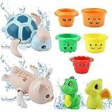GizmoVine Jeux de Bain,Jouet de Bain 2 Dinosaures+5 Gobelets gigogne+Tortue Lapin Animal Jouet Bain intéressant Jouets de Pis