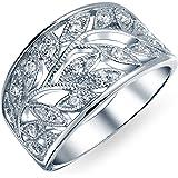 Bling Jewelry Boho Pave Cubic Zirconia Filigrana Aperto Larghe Foglie Foglia Anello Fascia per Donne Argento 925