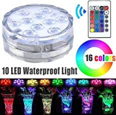 Dwayne C ABS Submersible Pool LED Light, 10 Remote Controlled RGB Battery Operated Underwater Night Lamp for Aquarium (RGB, 69 * 69 * 27mm)