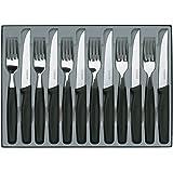 Victorinox 5.1233.12 Coffret de 6 Couteaux Steak + 6 Fourchettes Manche Noir Acier 18/10