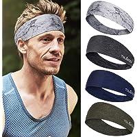 4 Pezzi fascia capelli sportiva larga per uomo e donna, fascia assorbimento dell'umidità, buona fascia elastica per…
