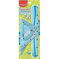 Maped Maxi Kit de Traçage INCASSABLE avec 4 Pièces Règle 30cm, Rapporteur 180°/12cm, Equerre 60°/21cm, Equerre 45°/21cm…