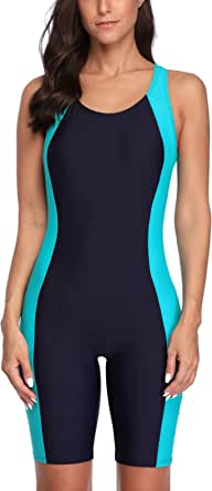 CharmLeaks Womens Boyleg One Piece Swimsuits Competitive Modest Bathing Suits Nav Navy-Blue