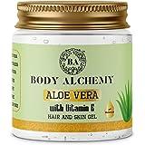 BodyAlchemy 99% Pure Aloe Vera With Vitamin E Gel For Skin and Hair, (Paraben Free/Non Comedogenic), 200g