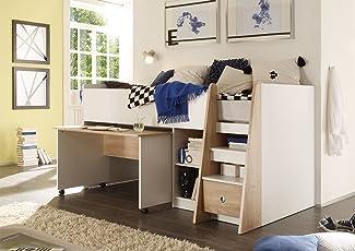 Hochwertig Lifestyle4living Jugendzimmer, Kinderzimmer, Jugendzimmermöbel,  Kinderzimmermöbel, Sonoma, Eiche, Sägerau, Weiß