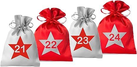 24 Adventskalender Säckchen 2farbig aus Satin - bedruckt mit 24 Stern-Zahlen - 2017 (für Erwachsene) für Weihnachtskalender / Adventskalender zum Befüllen