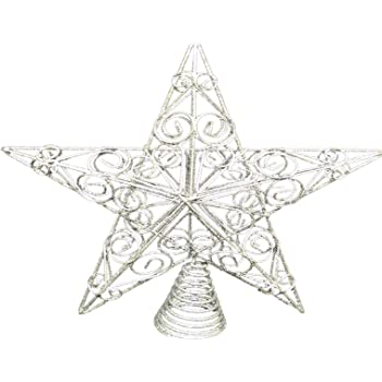 286dd4908e47 Christmas Decorations - 30cm Large Silver Glitter Star Swirls Christmas  Tree Topper