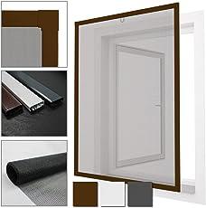 PROHEIM Insektenschutz-Fenster Comfort Fliegengitter aus Fiberglas mit Alu-Rahmen Individuell kürzbar Fliegenschutz Spannrahmen Ohne Bohren & Schrauben mit Dichtungsbürste