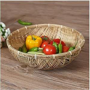 1X Hellbraun einfache Mode handgewebte Ablagekorb Rattan Lebensmittel Obstk J5V2