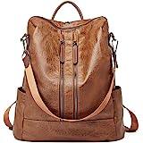 CLUCI Damen Rucksack Leder Schultertasche Elegant Große Reiserucksack Mode Leichter Tasche für Frauen 2 in 1 Braun