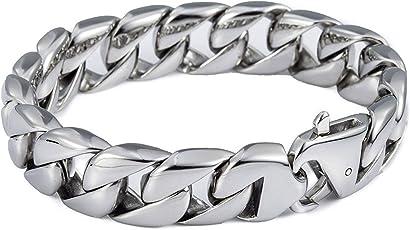 Moneekar Jewels Men's Metal 12mm Curb Cuban Link 316L Stainless Steel Bracelet (COJSS008, Silver)
