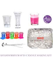 Asian Hobby Crafts Candle Making Kit Contents: Transparent Gel Candle Wax, Wax Colors, Candle Wicks, Acrylic Candle Container