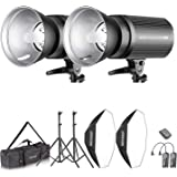 Neewer Flash Estroboscópico 600W Kit Iluminación:(2)300W Monoluz (2)Reflector (2)Soporte de Luz (2) Softbox (2)Lámpara de Mod