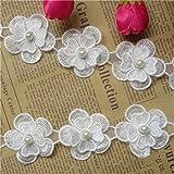1 metre Fleur Perle Dentelle ruban 4.5 cm de largeur Style vintage Blanc cassé bordures garnitures Tissu brodée Applique à co