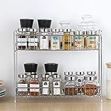 Plantex Stainless Steel 2-Tier Kitchen Rack/Spice Shelf/Kitchen/Pantry Storage Organizer(Silver-Chrome)