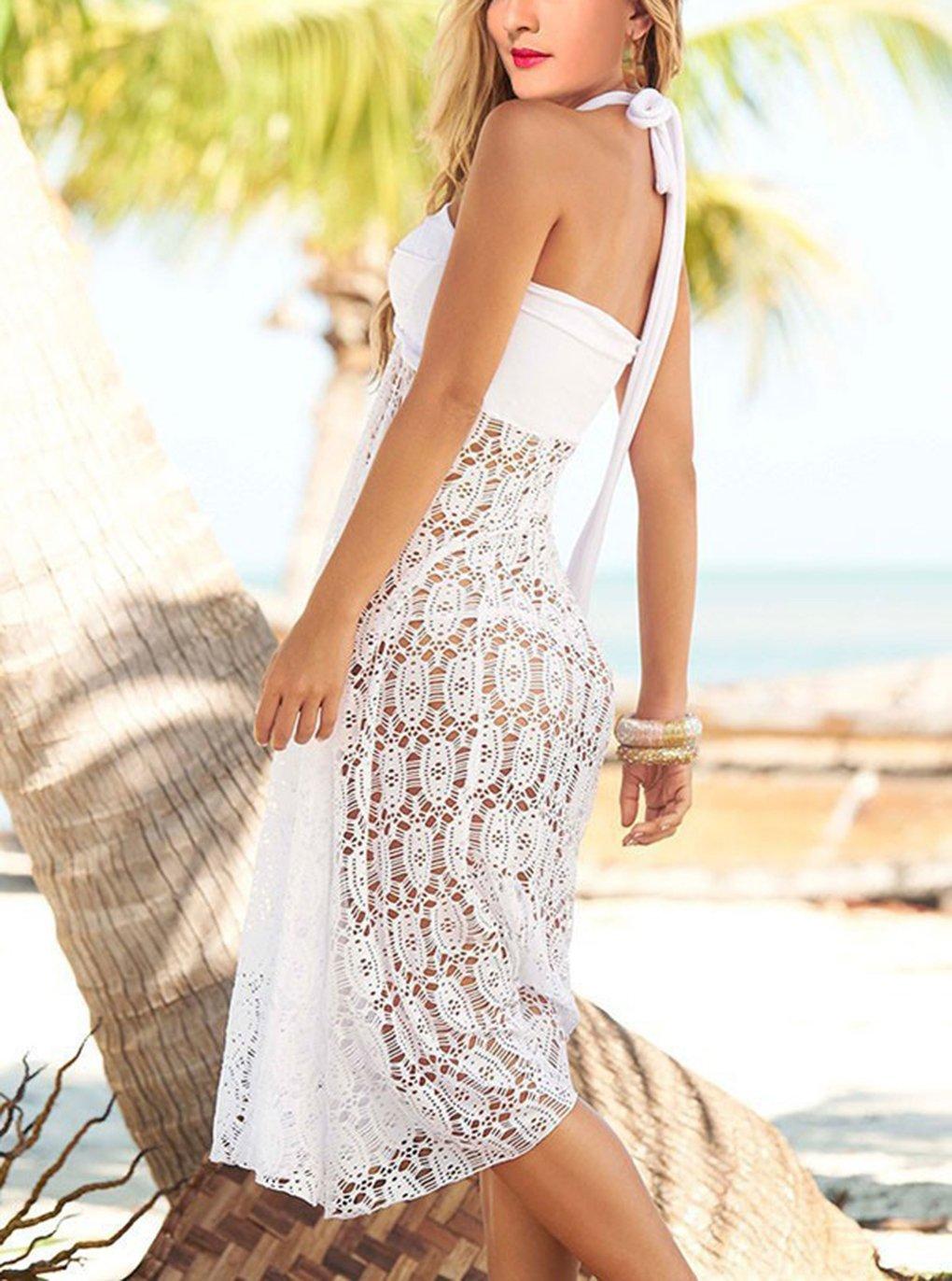Gonna da Spiaggia Donna Moda Bohemien Hippie Chic Abito Bustier Lungo Gonne Lunghe a Vita Alta Eleganti Vestito di Pizzo… 5 spesavip