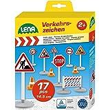 Lena 04440 - zestaw znaków drogowych z 17 częściami, 9 znaków drogowych ok. 16 cm, 5 pylonów i 3 płotów, optymalny do pojazdó