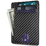 Sum-of-Bes RFID Front Pocket Slim Wallets- Genuine Leather Handmade Minimalist Credit Card Holder (Black)