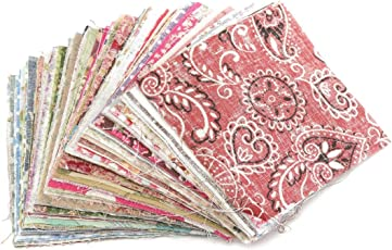 SODIAL(R) Cotton Square Floral Fabric Patchwork Cloth for DIY Craft Sewing, 10x10cm (TRTAV11A) - 100 Pcs