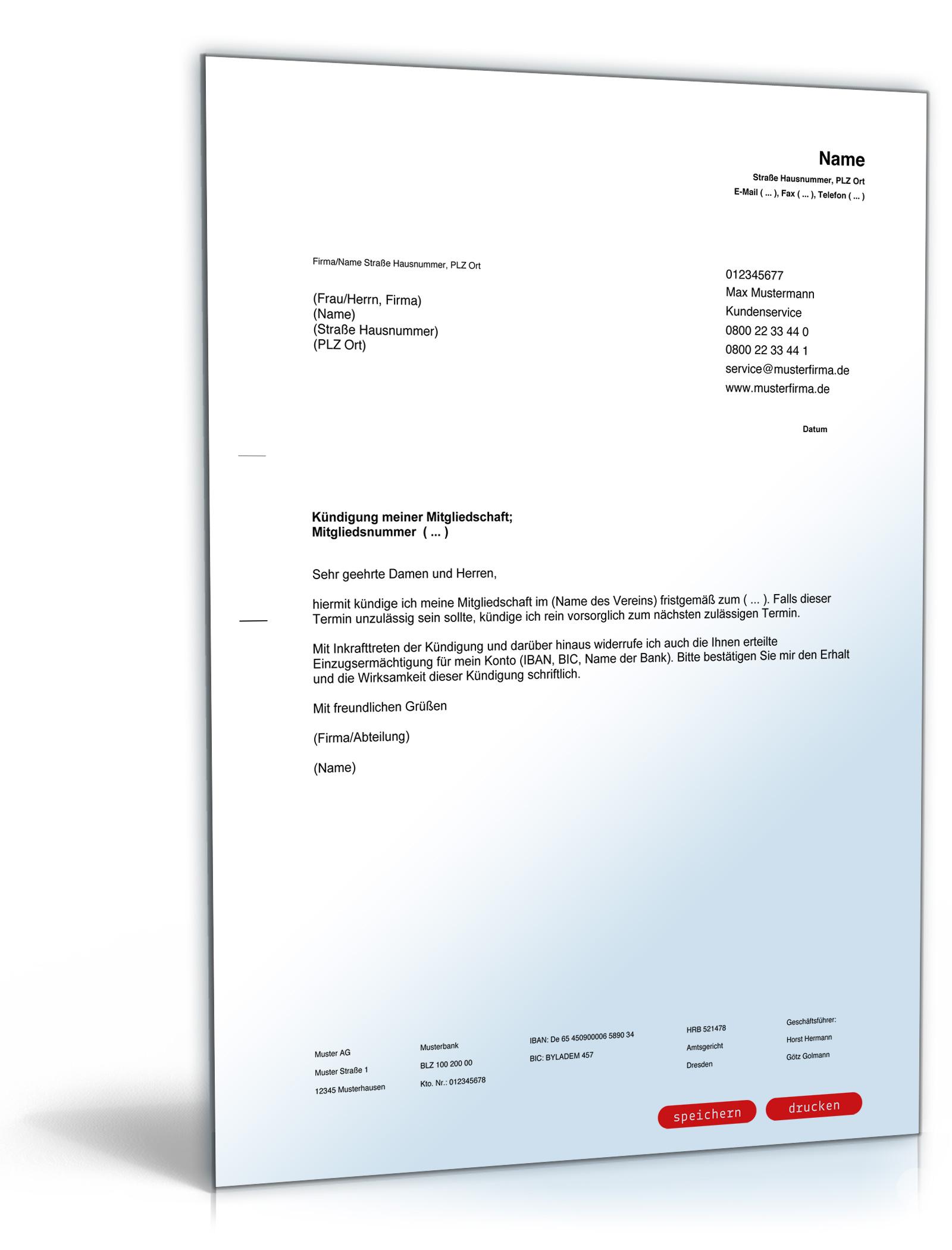 Kündigung Mitgliedschaft Verein [PDF Download] [Download]