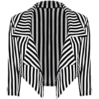 ZEE FASHION Womens Black & White Striped Cropped Waterfall Coat Casual Jacket Blazer Plus Size UK 8-26