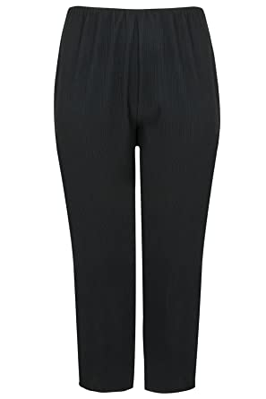 57e36dd23ec Plus Size Womens Bootleg Stretch Ribbed Trousers