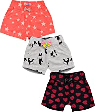 Aatu Kutty Girl's Cotton Shorts - Pack of 3