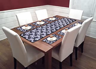 La Roze Home Furnishings by PVC 6 Seater Dining Table Runners with Placemats (Multicoloured)