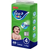Fine Baby Diapers, Size 4, Large 7–14kg, Jumbo Pack of 48 diapers