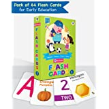 Flash Cards for Kids | 64 Cards | 1 to 20 Numbers in Words, Basic Shapes and Colors, A to Z Alphabet Flash Cards | Fun Learni