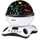 Moredig Lámpara Proyector Estrellas, 360° Rotación Músic Lampara con Temporizador led Pantalla y Control Remoto, 8 Modos Romá