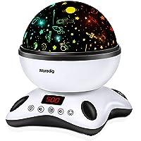 Moredig - Proiettore Stelle Bambini, 360° Rotazione Musicale Proiettore Lampada con lo Schermo a Led e Telecomando, 8…