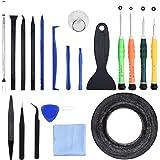 21 in 1 Profi Reparatur Werkzeug Set Tool Kit für Handy und Smartphone & Multimedia oder andere Kleingeräte inkl. Saugnapf, Spugder, Mikrofasertuch