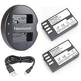 Newmowa D-Li109 ersättningsbatteri (2-pack) och dubbel USB-laddare för Pentax D-Li109 Pentax K-R KP K-30 K-50 K-500 K-S1 K-S2