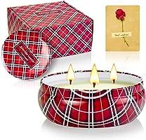 CREASHINE Candele profumate, Set Regalo di Natale, Candele di citronella per Interni, in Cera di soia Naturale, 623,7 g,...