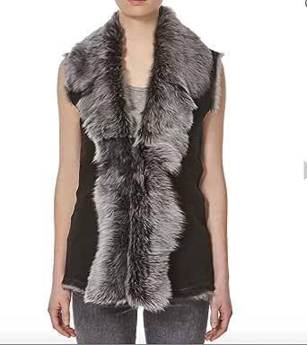 A to Z Leather Donna Pelle Scamosciata Nera con Argento/Snowtip Colorata Shearling Pelliccia Cascata Gilet/Gilet (Maniche Body Warmer)