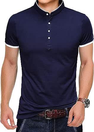 Mens Polo Shirts Long Sleeve T Shirt Casual Fashion Basic Henley T-Shirt Cotton Tops