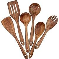 Lot de 6 ustensiles de cuisine en bois pour ustensiles de cuisine antiadhésifs, spatule en bois, fourchette, spatule…