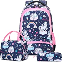 Einhorn Rucksack Mädchen Schulrucksack Schultaschen Sets Grundschule Mädchen Schulranzen Sets 3 en 1 Schule…