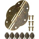 FUXXER® - 6x antieke scharnieren, metalen scharnieren, ijzeren scharnieren, bronzen design, voor kasten, kastdeuren, kisten,