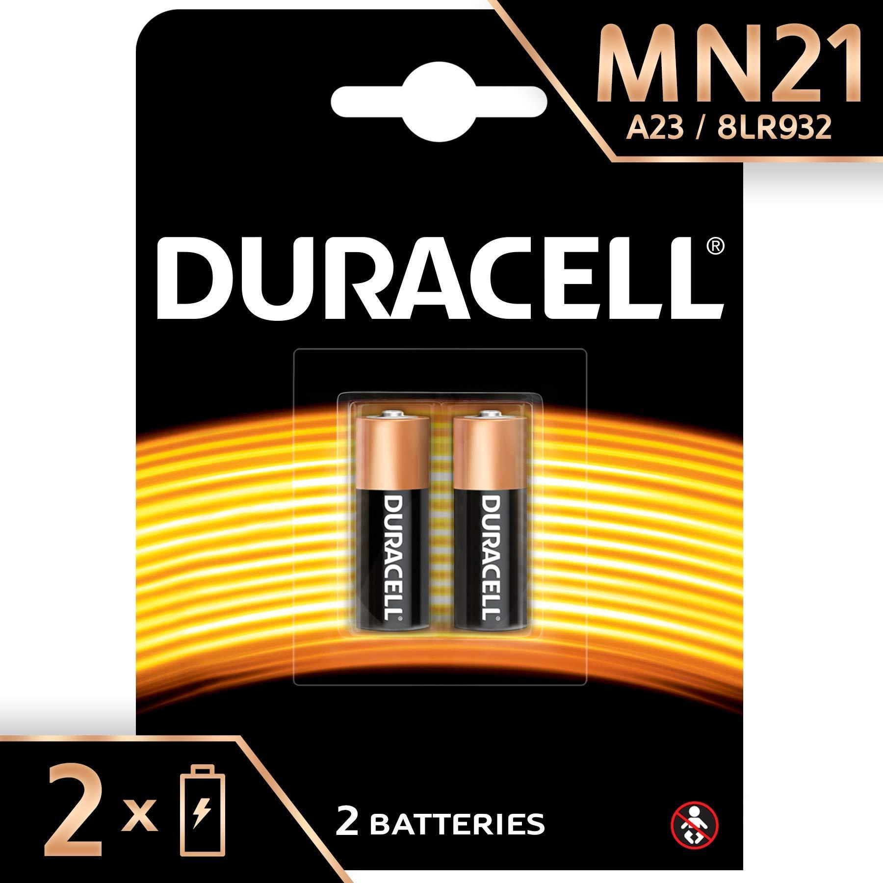 Duracell – Pilas especiales alcalinas MN21 de 12V, paquete de 2 unidades (A23 / 23A / V23GA / LRV08 / 8LR932) diseñadas para su uso en mandos a distancia, timbres inalámbricos y sistemas de seguridad