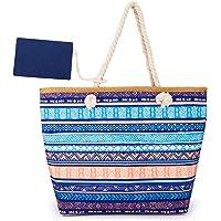 peinat Große Strandtasche mit Reißverschluss und Innentasche Wasserdicht Shopper Large Sommer Leinentragetaschen Seil…