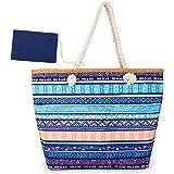 peinat Große Strandtasche mit Reißverschluss und Innentasche Wasserdicht Shopper Large Sommer Leinentragetaschen Seil Damen T