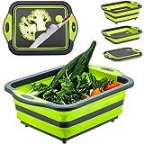 D L D Planche à découper pliable avec passoire, évier de camping pliable multifonction, bac à vaisselle en plastique silicone