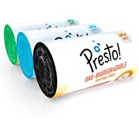 Amazon Brand - Presto! Oxo-Biodegradable Garbage Bags Combo, Small - 30 bags/roll (Pack of 3, 1xBlack, 1xGreen, 1xBlue)
