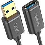 UNITEK Kabel USB 3.0 A stekker naar USB A bus/verlengkabel / 1,5 meter, zwart verlenging voor printer, toetsenbord, kaartleze