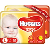 Huggies New Dry, Taped Diapers, Large Size Combo Pack of 2, 52 Counts Per Pack , 104 Counts