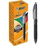 BIC Grip Pro 4 Colours, Boligrafos con Zona de Agarre, Óptimo para Oficina de la Escuela y el Hogar, Azul, Negro, Rojo, Verde